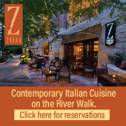Zocca, Contemporary Italian Cuisine on the River Walk. Click here for reservations.