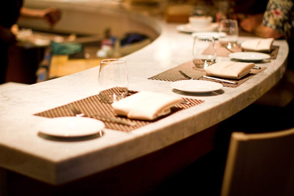 Counter set for dinner at Culinaria