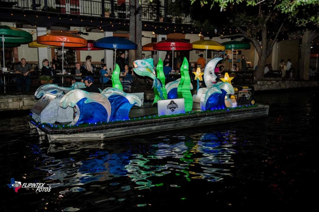 River float with river-themed paper lantern sculptures