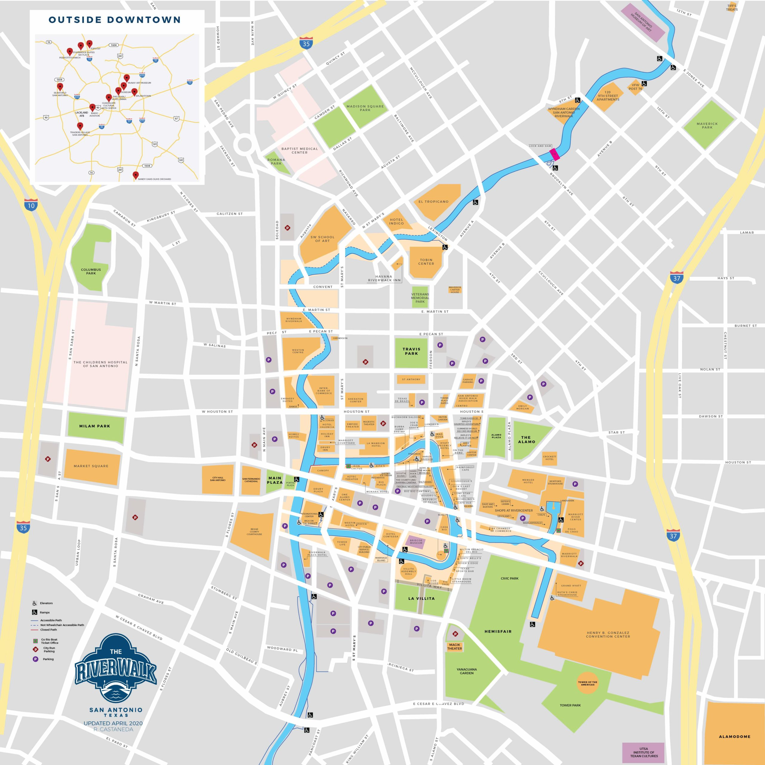 Map of the San Antonio River Walk and downtown
